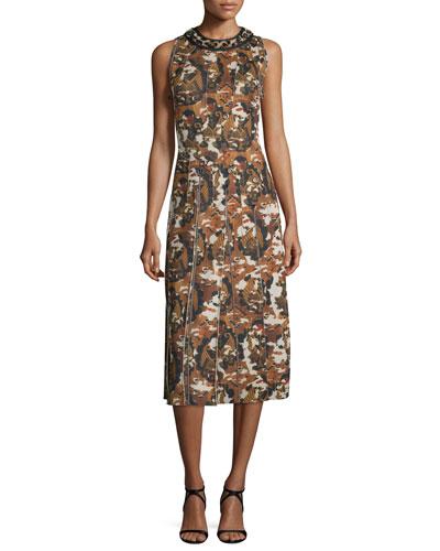 Sleeveless Fur-Collar Midi Dress, Wall Print