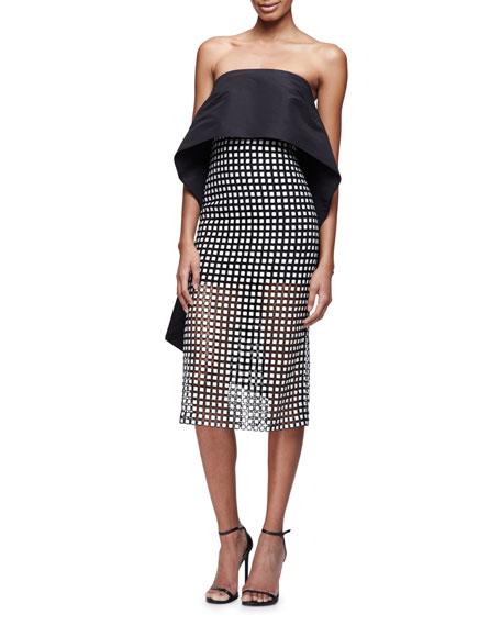 Strapless Peplum-Cape Cocktail Dress, Black (Noir)