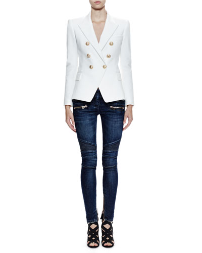 Doubled-Breasted Notch-Collar Jacket, White