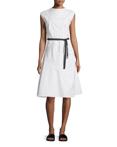 Cap-Sleeve A-Line Sailcloth Dress, White