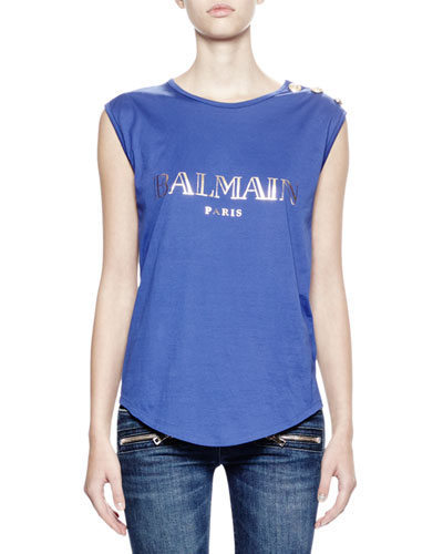 Cotton Muscle Tee w/Foiled Logo, Cobalt