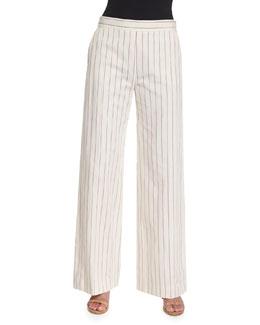 Pinstriped Linen Wide-Leg Pants, Red