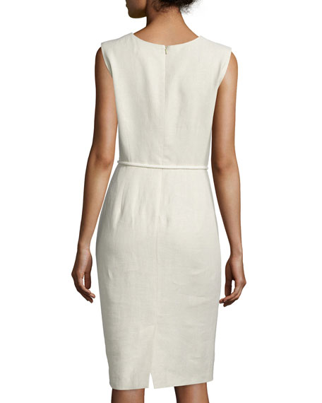 Sleeveless Linen Sheath Dress, Sand