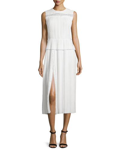 Sleeveless Pleated Georgette Dress, Ivory
