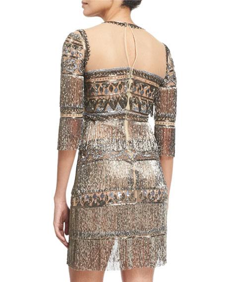 3/4-Sleeve Embroidered Fringe Cocktail Dress, Gunmetal