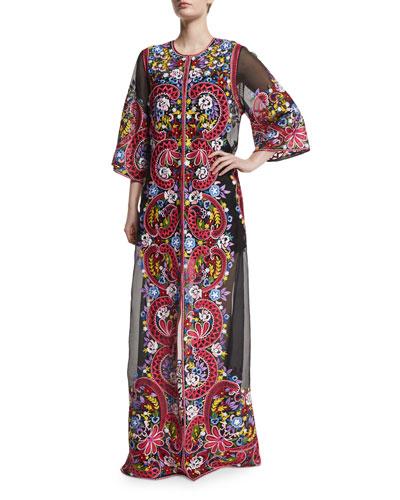 Long Embroidered Silk Coat, Black/Multi
