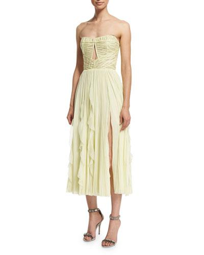 Strapless Cutout Combo Dress, Lemon