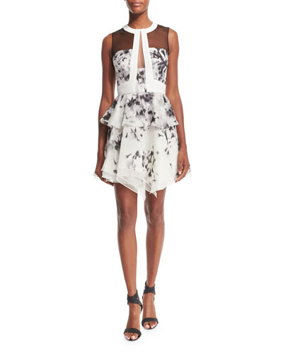 Sleeveless Floral-Print Silk Peplum Dress, Ivory/Black