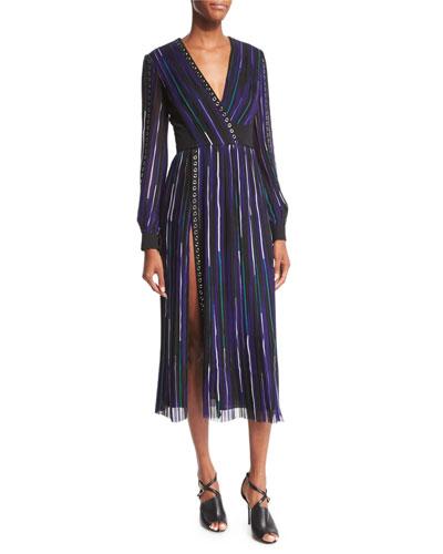 Long-Sleeve Pleated Silk Crepe Dress, Black/Lapis