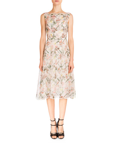 Mara Floral-Print Silk A-Line Dress, White/Multi