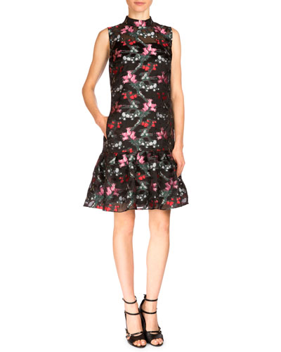 Nena Fil Coupe Mock-Neck Peplum Dress, Black/Multi