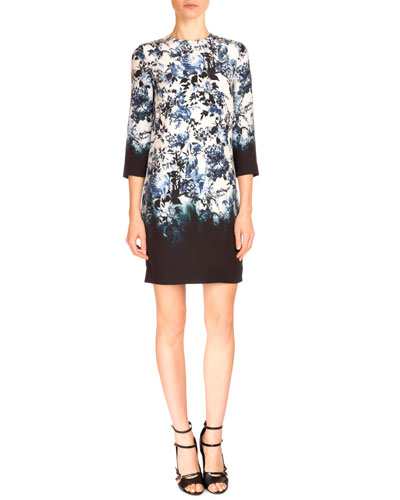 Emma 3/4-Sleeve Degrade Floral-Print Silk Dress, White/Blue