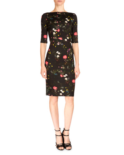 Kirsten Floral Jersey Sheath Dress, Midnight Daisy