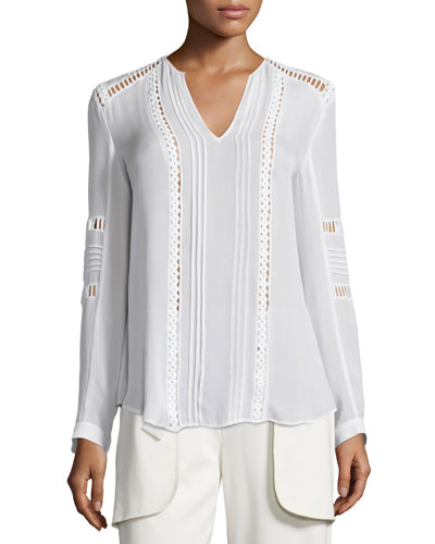 Long-Sleeve Ladder-Stitch Silk Blouse, Off White