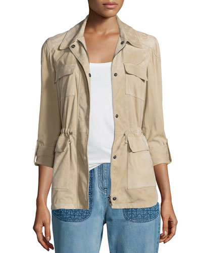 Four-Pocket Zip-Front Suede Jacket, Beige