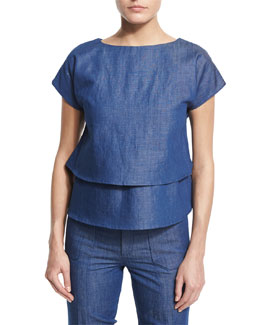 Short-Sleeve Layered Chambray Top, Pale Blue