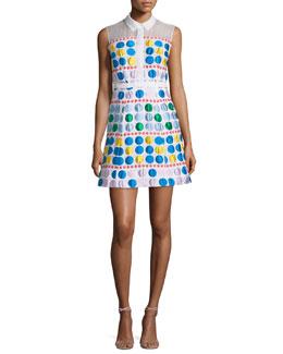 Sleeveless Dot-Print A-Line Shirtdress, White/Multi