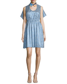 Sleeveless Gingham Sateen Dress w/Embroidered Collar, Pure Blue