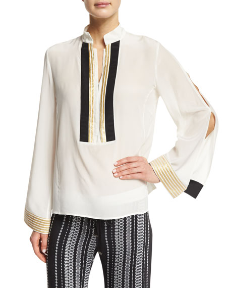 Long Slit-Sleeve Mandarin-Collar Blouse, Ivory