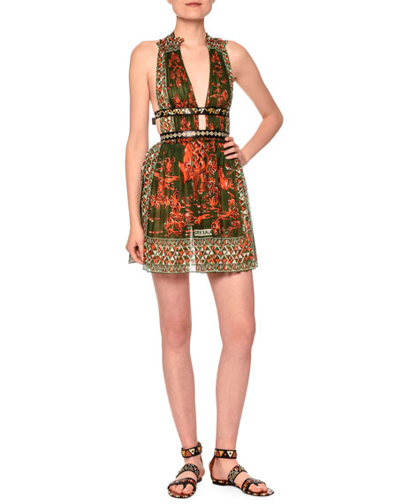 V-Neck Mini Dress W/Banded Waist, Orange/Green