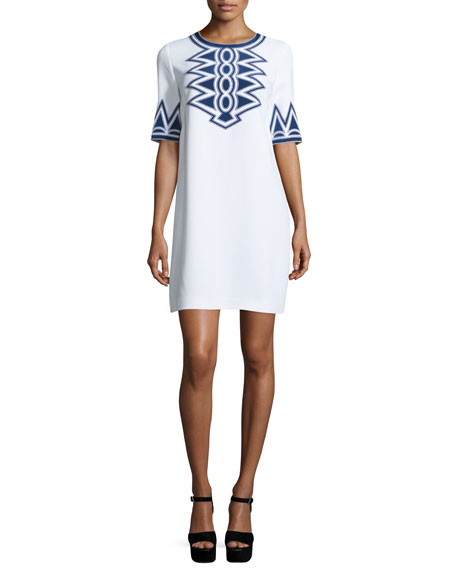 Embroidered Half-Sleeve Shift Dress, White/France