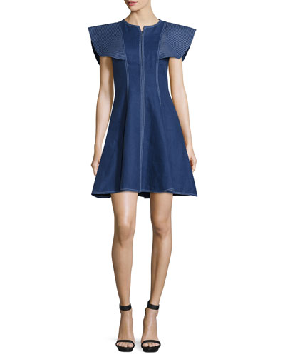 Structured Linen Fit-and-Flare Dress, Denim/White