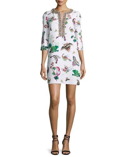 3/4-Sleeve Butterfly-Print Shift Dress, White