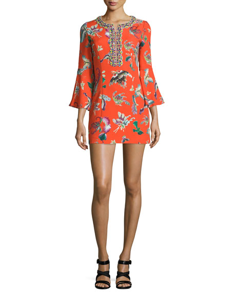 3/4 Bell-Sleeve Printed Dress, Orange