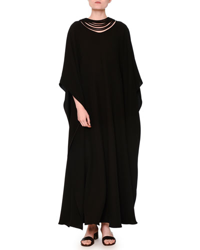 Silk Cady Couture Caftan Gown, Black