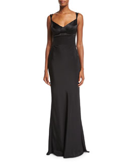 Sweetheart-Neck Silk Gown w/Harness Straps, Black