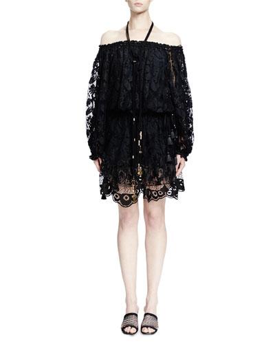 Off-the-Shoulder Lace Dress, Black