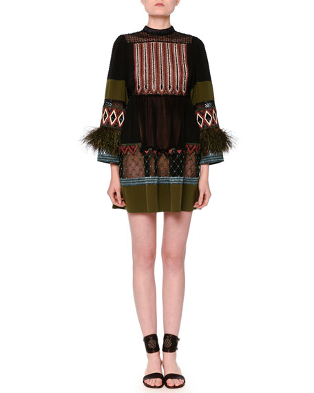 Embroidered Long-Sleeve Mock-Neck Shift Dress, Black/Army