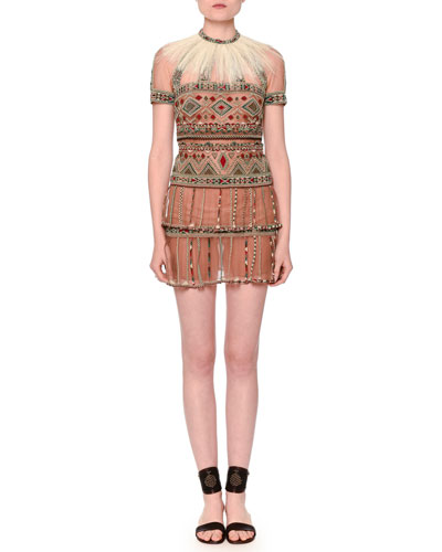 Short-Sleeve Beaded Tulle Dress w/Detachable Feather Collar, Camel Rose