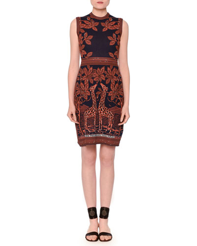 Sleeveless Knit Giraffe-Print Sheath Dress, Navy/Sienna