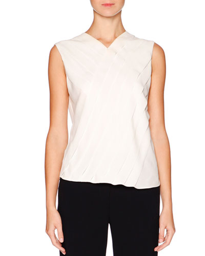Sleeveless Layered Silk Blouse, Ivory
