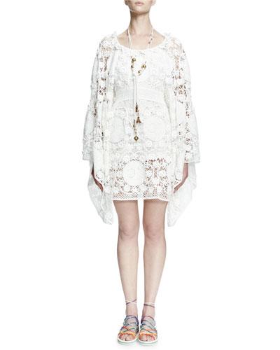Crocheted Oversized Bell-Sleeve Dress, White