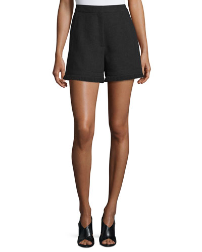 Fringed High-Waist Shorts, Black