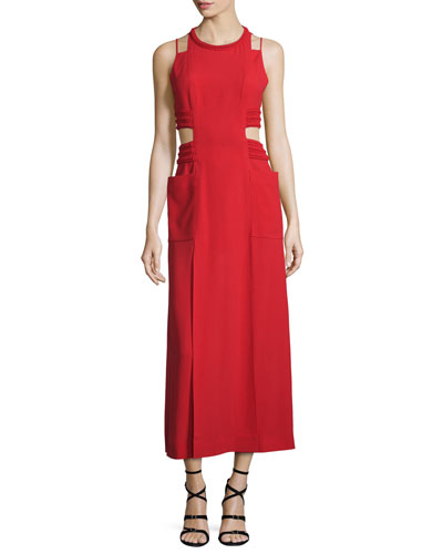 Sable Maxi Dress w/Cutouts, Caipiroska Red