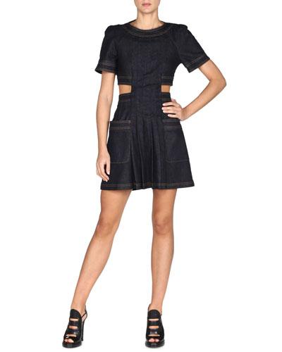Short-Sleeve Denim Cutout Dress