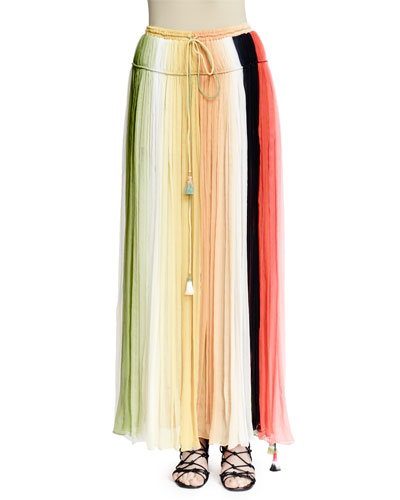 Pleated Rainbow Silk Maxi Skirt