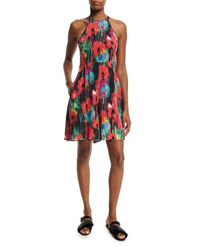 Sleeveless Floral-Print Georgette Dress, Black/Multi
