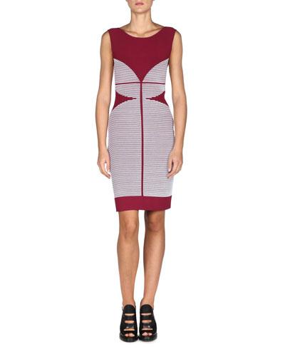 Sleeveless Striped Scoop-Back Sheath Dress, Sangria/White