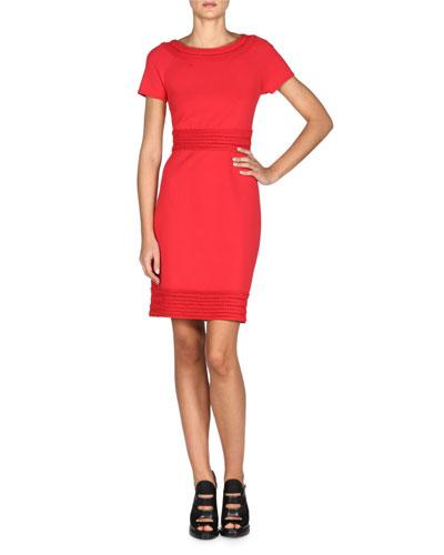 Smocked Short-Sleeve Sheath Dress, Capiroska Red