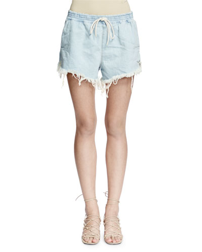 Acid-Wash Frayed Denim Shorts