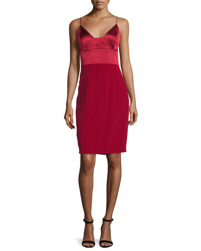 Spaghetti-Strap Silk Cocktail Dress, Red