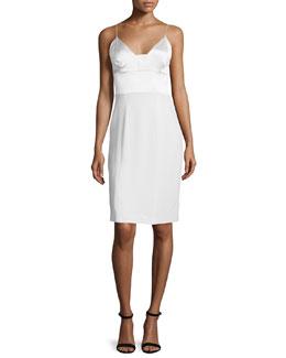 Spaghetti-Strap Silk Cocktail Dress, White