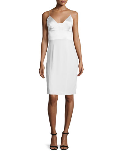 Spaghetti-Strap Silk Cocktail Dress, White