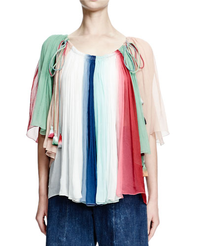 Rainbow-Striped Silk Tassel Top, Blue/White/Seafoam