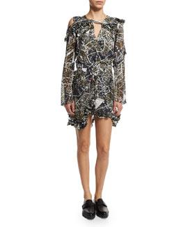 Long-Sleeve Cold-Shoulder Devore Dress, Leopard