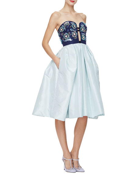 Strapless Fit-&-Flare Cocktail Dress, Navy/Multi
